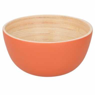 Oranje serveer schaaltje van bamboe 10 cm