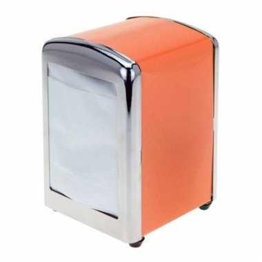 Oranje servettenhouder 14 cm