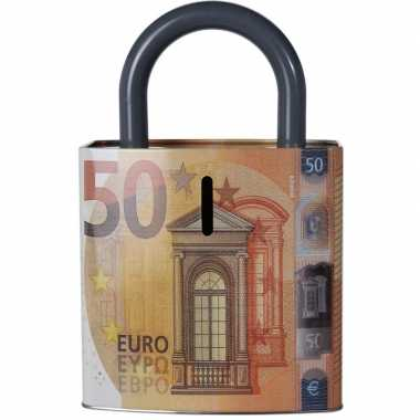 Oranje spaarpot 50 euro biljet slotvorm 25 cm