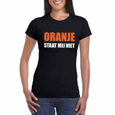 Oranje staat mij niet fun t-shirt voor dames zwart