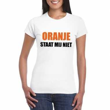 Oranje staat mij niet t-shirt wit dames