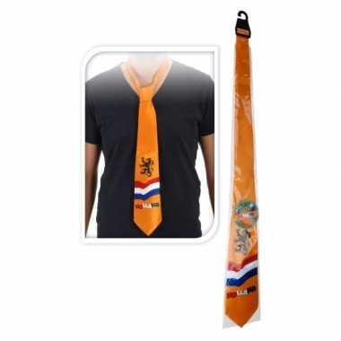 Oranje stropdas met nederlandse afbeeldingen