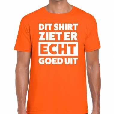 Oranje t-shirt heren met tekst dit shirt ziet er echt goed uit