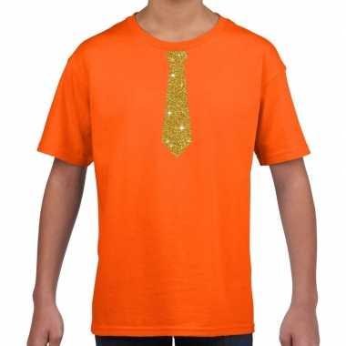 Oranje t-shirt met gouden stropdas voor kinderen