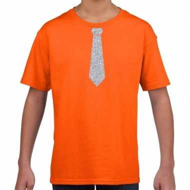 Oranje t-shirt met zilveren stropdas voor kinderen