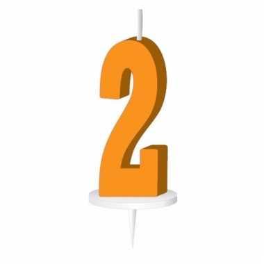 Oranje taart kaarsje cijfer 2