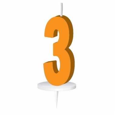 Oranje taart kaarsje cijfer 3