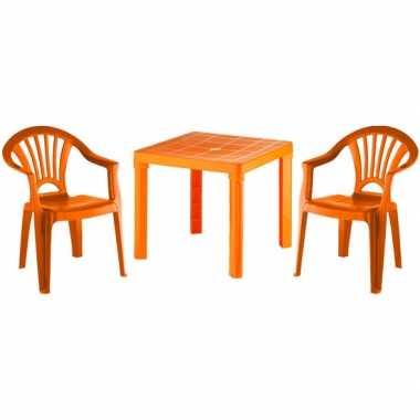 Oranje tafeltje met 2 stoelen tuinset voor kinderen