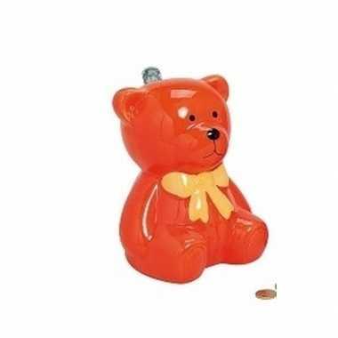Oranje teddybeer spaarpot 20 cm