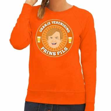 Oranje vereniging prins pils sweater oranje dames