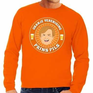 Oranje vereniging prins pils sweater oranje heren