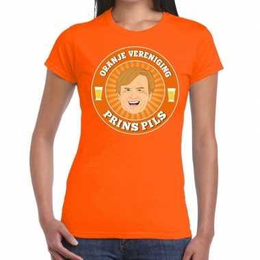 Oranje vereniging prins pils t-shirt oranje dames