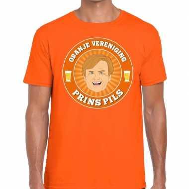 Oranje vereniging prins pils t-shirt oranje heren