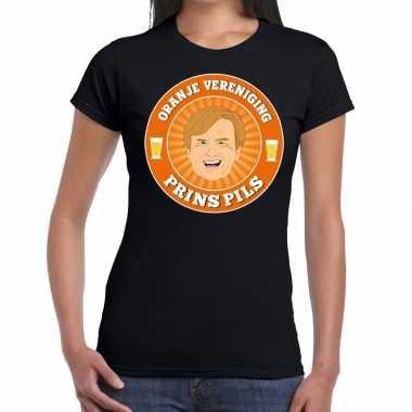 Oranje vereniging prins pils t-shirt zwart dames