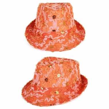 Oranje verkleed gleufhoedje met ruches en pailletten