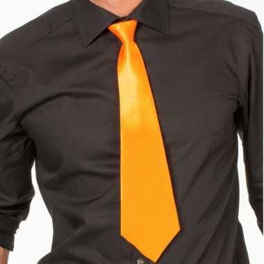 Oranje verkleed stropdassen 41 cm voor dames heren 10159769