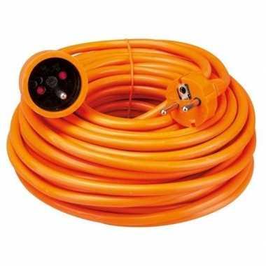 Oranje verlengsnoer met penaarde 20 meter