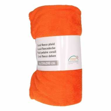 Oranje warme fleece deken 150 x 200 cm