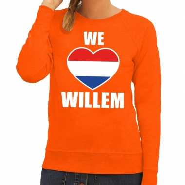 Oranje we love willem trui dames