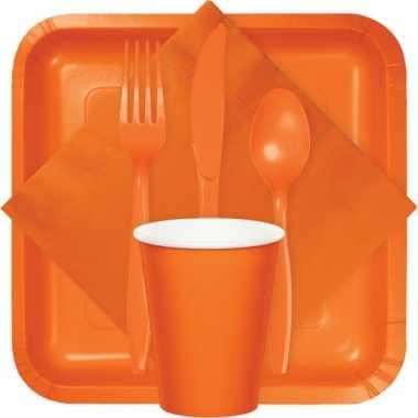 Oranje wegwerp bekers 8 stuks