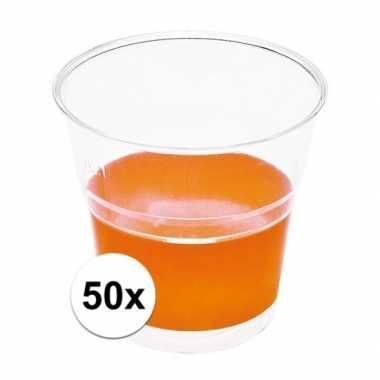 Oranje wegwerp bekertjes 50 stuks