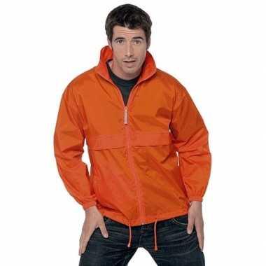 Oranje wind regenjas voor volwassenen