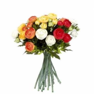 Oranje/wit ranunculus ranonkel kunstbloemen 35 cm decoratie