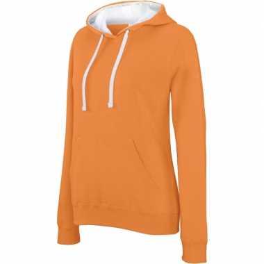 Oranje/witte dames truien/sweaters met hoodie/capuchon