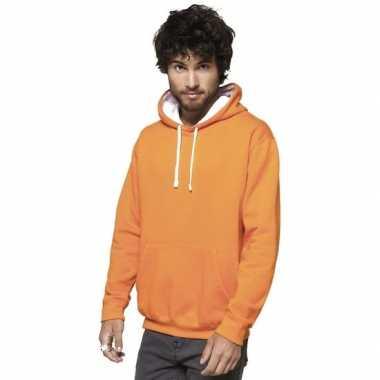 Oranje/witte heren truien/sweaters met hoodie/capuchon