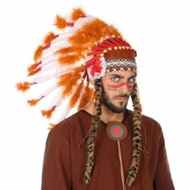 Oranje/witte indianen tooi voor heren