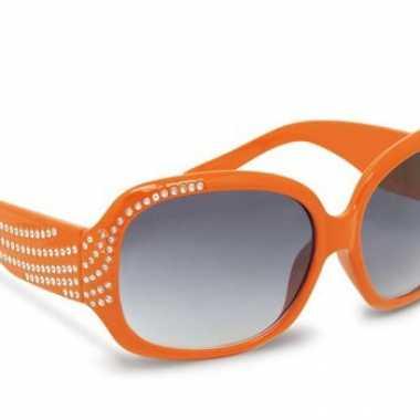 daf9cd6ae15f53 Oranje zonnebril met steentjes