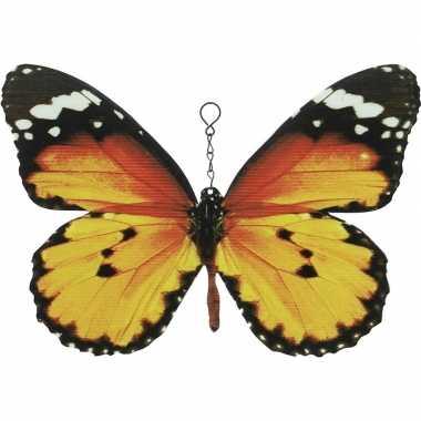 Oranje/zwarte metalen tuindecoratie monarch vlinder 20 cm