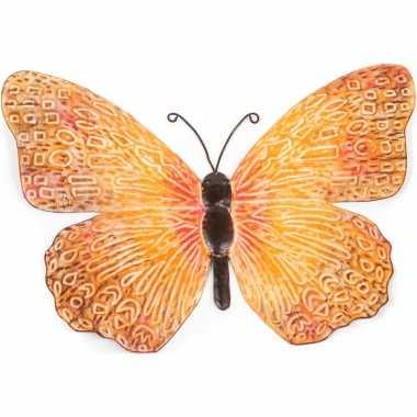 Oranje/zwarte metalen tuindecoratie vlinder 39 cm