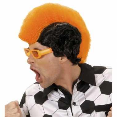 Oranje zwarte pruik met hanenkam