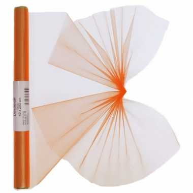 Organza tule stof oranje 40 x 200 cm