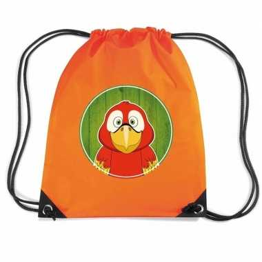 Papegaai dieren trekkoord rugzak gymtas oranje voor kinderen