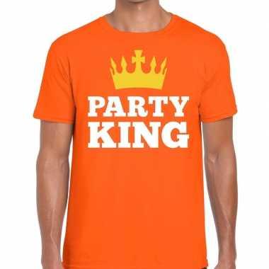 Party king t-shirt oranje heren