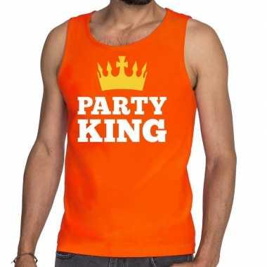 Party king tanktop / mouwloos shirt oranje heren
