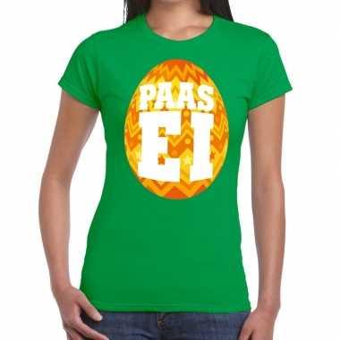 Pasen shirt groen met oranje paasei voor dames