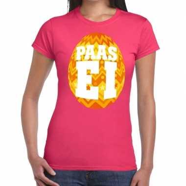 Pasen shirt roze met oranje paasei voor dames