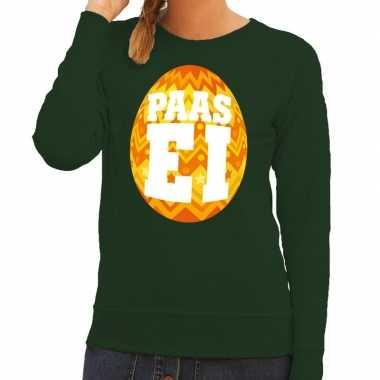 Pasen sweater groen met oranje paasei voor dames