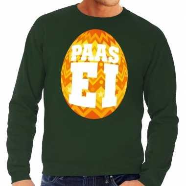Pasen sweater groen met oranje paasei voor heren