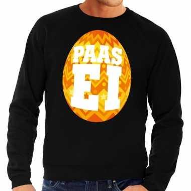 Pasen sweater zwart met oranje paasei voor heren