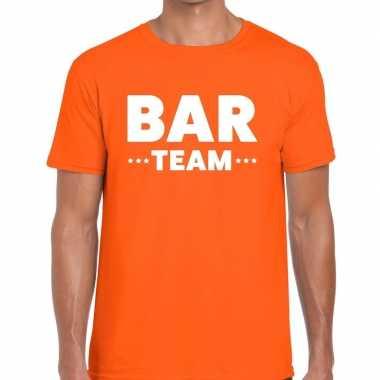 Personeel t-shirt oranje met bar team bedrukking voor heren