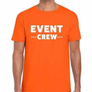 Personeel t-shirt oranje met event crew bedrukking voor heren