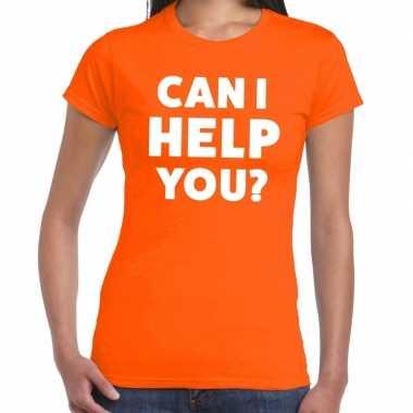 Personeel tekst t-shirt oranje met can i help you? bedrukking voor da