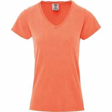Perzik oranje dames t-shirts met v-hals