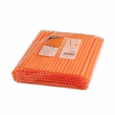 Plastic drinkrietjes oranje 270 stuks