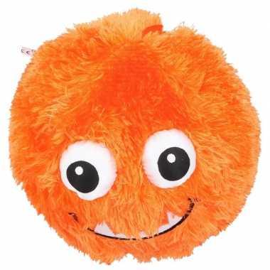 Pluche bal oranje met gezicht 23 cm