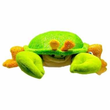 Pluche krab knuffeldier groen/oranje 23 cm
